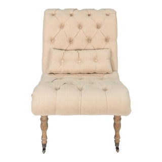 American Oak Tufted Boudoir Chair with Pillow For Sale