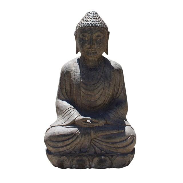 Chinese Stone Sitting Buddha Amitabha Shakyamuni Statue - Image 1 of 6