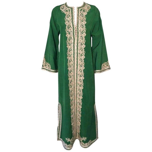 Moroccan Caftan Emerald Green Silk Kaftan Size S to M For Sale