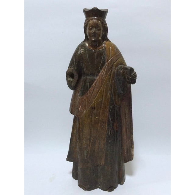 19th Century Carved Wood Religious Sculpture of Saint Agatha - Image 2 of 6
