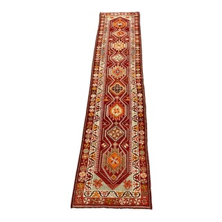 1960s Vintage Turkish Oushak Runner Rug - 2′9″ × 12′8″ For Sale