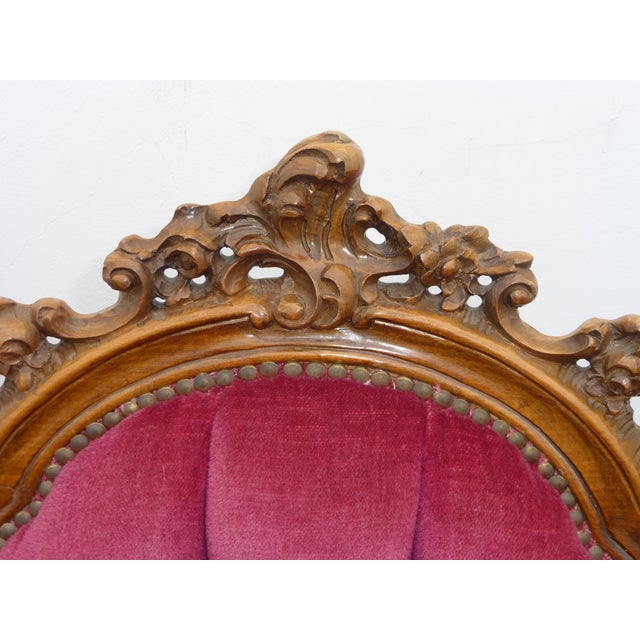 Ornate French Carved Tufted Back Chairs - Pair - Image 8 of 11