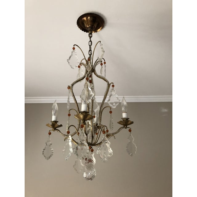 French 4 Arm Wrought-Iron Chandelier - Image 3 of 3