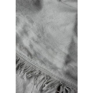 Antique French Large Bed Curtain Grey - White Damask W/ Trim 19th Century ! For Sale