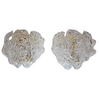 1960s Italian Murano Clear Textered Curved Glass Sconces - a Pair For Sale
