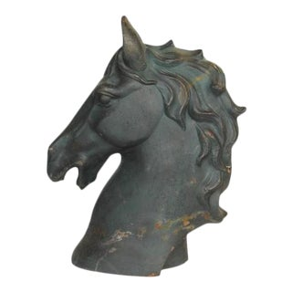 1900s American Cast Iron Horse Head Sculpture For Sale