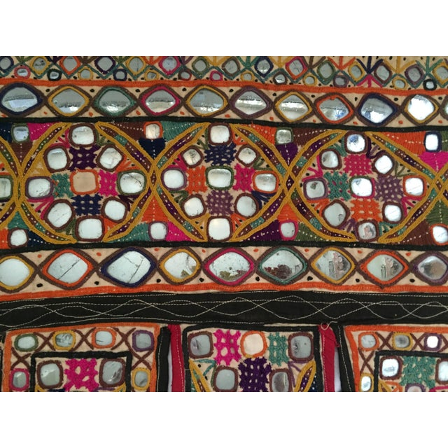 Boho Chic Indian Embroidered Mirror Valance For Sale - Image 3 of 10