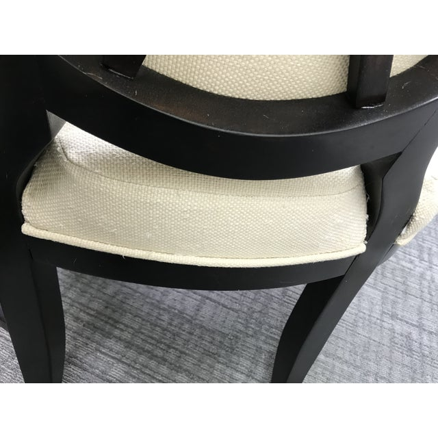 Transitional Barbara Barry Cream Oval X-Back Arm Chairs - a Pair For Sale - Image 12 of 13