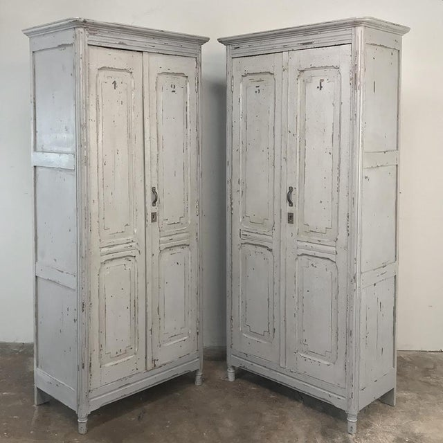 Rustic Pair Antique Painted Wooden Locker Cabinets For Sale - Image 3 of 13