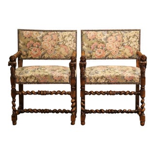 Pair of 19th Century French Louis XIII Carved Walnut Barley Twist Armchairs For Sale