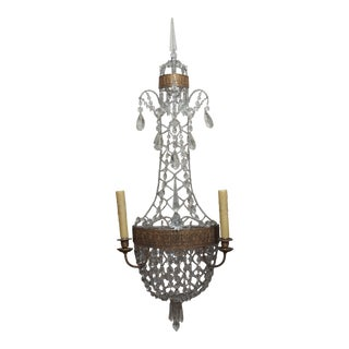 Pair of Louis XVI style Crystal Sconces For Sale