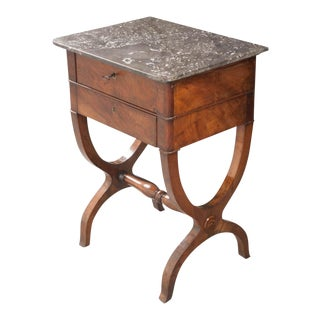 FRENCH 19TH CENTURY MARBLE TOP WALNUT TABLE