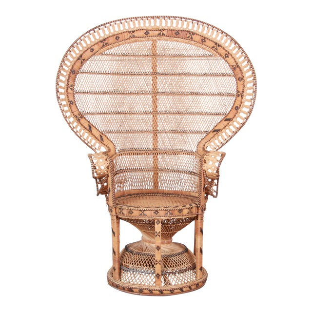 "1970s Bohemian Wicker ""Emanuelle"" Peacock Chair For Sale"