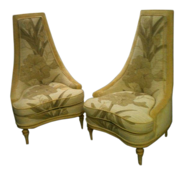 Vintage 1970u0027s Phyllis Morris Fantasy Hollywood Regency Chairs  A Pair