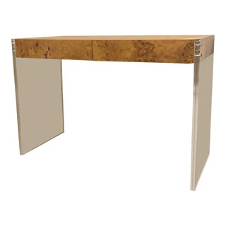 Jonathan Adler Burlwood and Lucite Desk For Sale