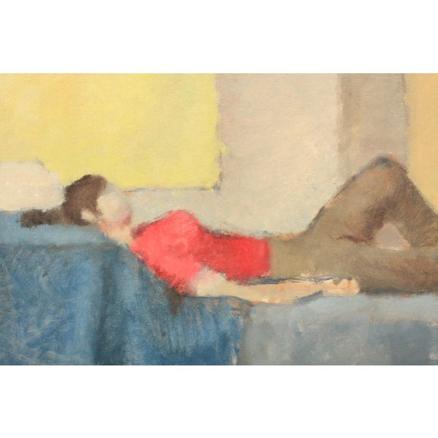 Contemporary abstract figurative painting featuring a reclined woman wearing a red shirts and shoes. The subject lies on...