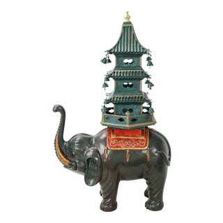 Dark Green Elephant Carrying Pagoda Sculpture For Sale