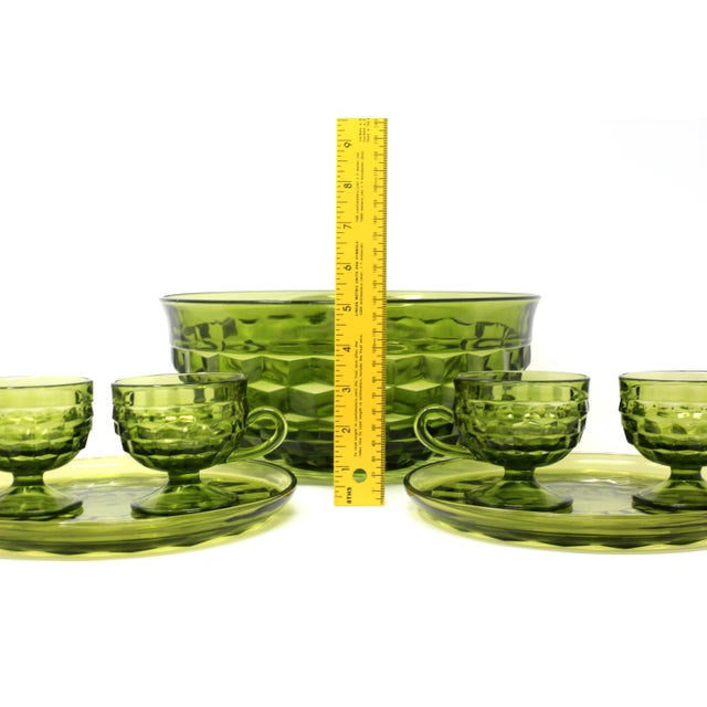1970's Colony Whitehall Collection Green Punch Bowl, Cups and Plates - Set of 7 For Sale - Image 9 of 11