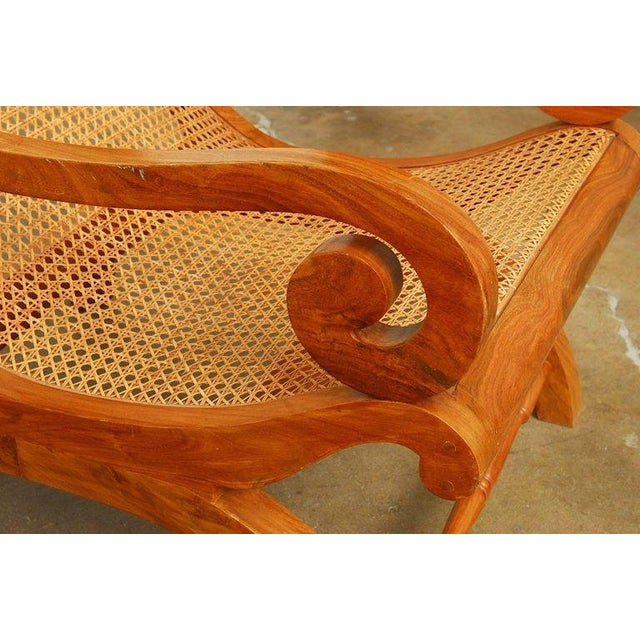 Brown Anglo-Indian Teak and Cane Plantation Chair For Sale - Image 8 of 13