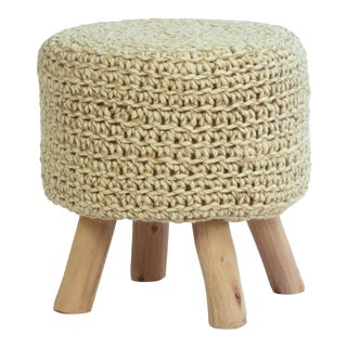 Knitted Wool Round Pouf Stool For Sale