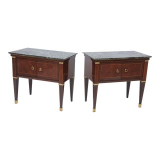 Pair of Italian Modern Rosewood and Walnut Inlaid Nightstands, Paolo Buffa For Sale