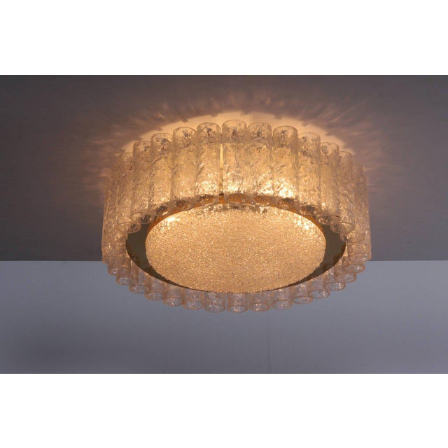 Transparent Pair of Large Doria Glass Flush Mounts or Sconces with Brass Surround For Sale - Image 8 of 8