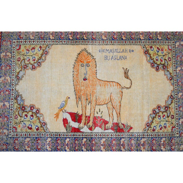 """Hollywood Regency Antique Turkish Rug Lion Pattern Hand Knotted SuperLow Pile Wool Wall & Area Rug Rare Piece- 4'1"""" X 6' For Sale - Image 3 of 11"""
