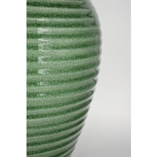Japanese Chinese Celadon Green Crackled Ceramic Vase Meiping Plum Ribbed Asian Antique Preview