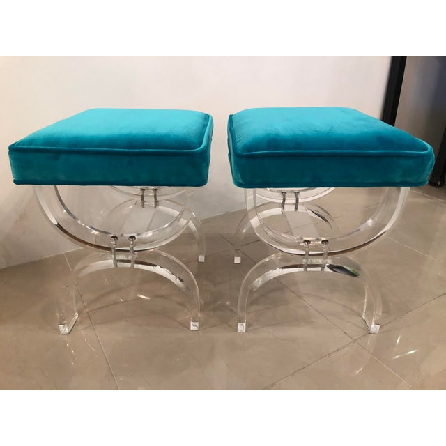 Vintage Hollywood Regency Blue Velvet Lucite X Benches Stools -A Pair For Sale - Image 12 of 13