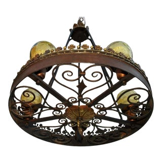 1920s Wrought Iron Spanish Colonial Chandelier For Sale