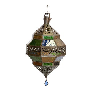 Moroccan Lantern, Handcrafted Octagonal Diamond Shape in Multi-Color Glass For Sale
