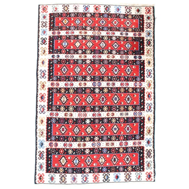 """2010s Pasargad NY Antique Persian Shiraz Kilim Rug - 4'7"""" x 7'4"""" For Sale - Image 5 of 5"""