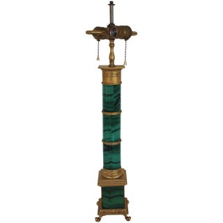 French Style Faux Malachite Lamp For Sale