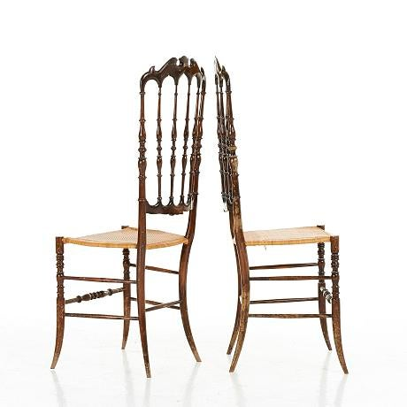 Midcentury pair of Italian chairs from the 1950s, designed by Colombo Sanguineti and manufactured by Sedie e Mobili...