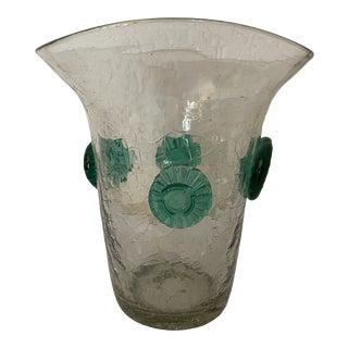 Vintage Blenko Smokey Crackle Glass Vase With Green Prunts For Sale