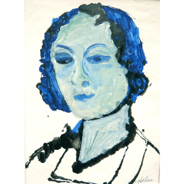 Blue Lady Gouache & Acrylic Painting - Image 2 of 3