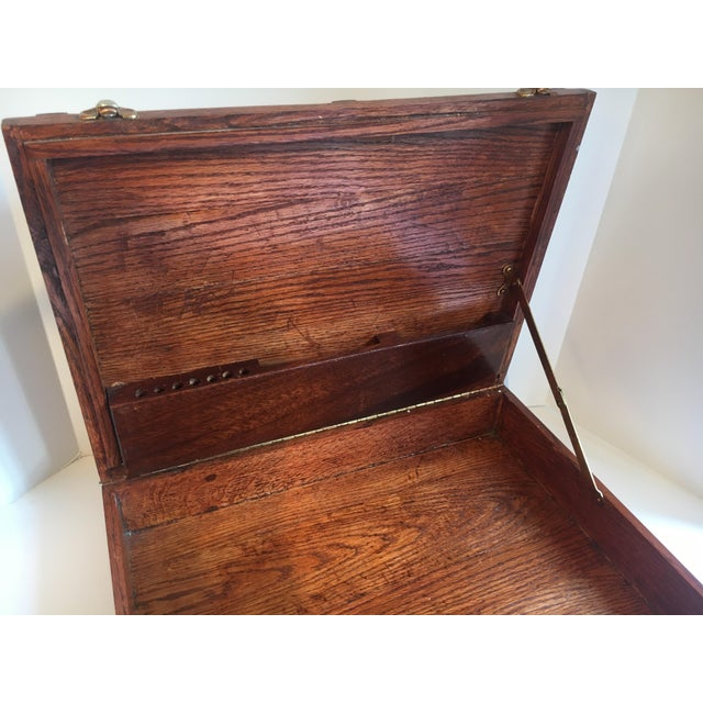 Mid 20th Century Folk Art Wooden Attache Briefcase Art Case For Sale - Image 5 of 6