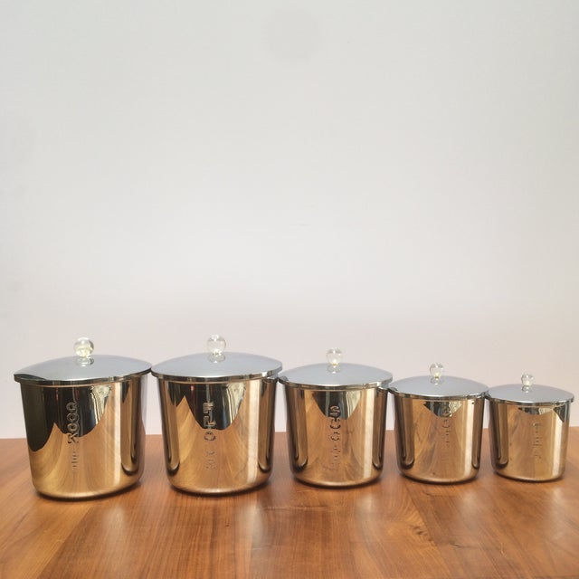Vintage Chrome Kitchen Canisters - Set of 5 - Image 3 of 7
