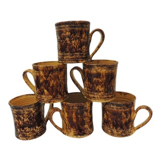 Set of (6) Yellow and Brown Spongeware Hand-Made Mugs For Sale
