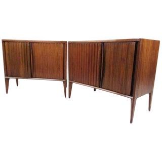 Pair of Vintage Modern Sculpted Front Bedside Tables For Sale
