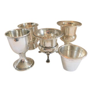 Five Fabulous Sterling Silver Antique Cups/Shots/Containers For Sale
