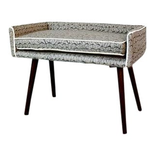 Gray Hand-Painted Fabric Vanity Sized Stool For Sale