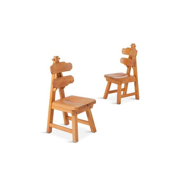 Brutalist Oak Spanish Dining Chairs For Sale - Image 9 of 13