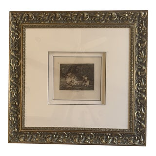 Goya Etching From Original Print, Framed For Sale