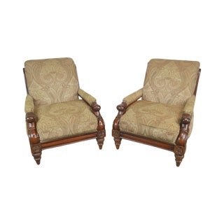 Cibola Regency Style Large Pair Solid Mahogany Custom Upholstered Lounge Chairs For Sale
