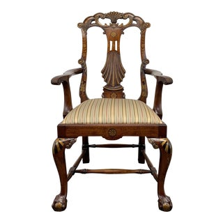 Vintage Georgian Style Walnut Handpainted Armchair With Ball in Claw Feet For Sale