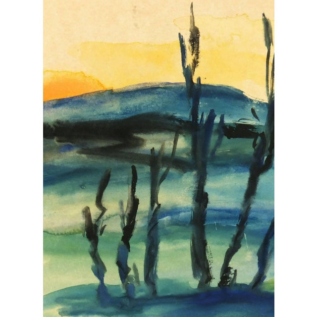 Traditional Watercolor Landscape - Setting Sun For Sale - Image 3 of 5