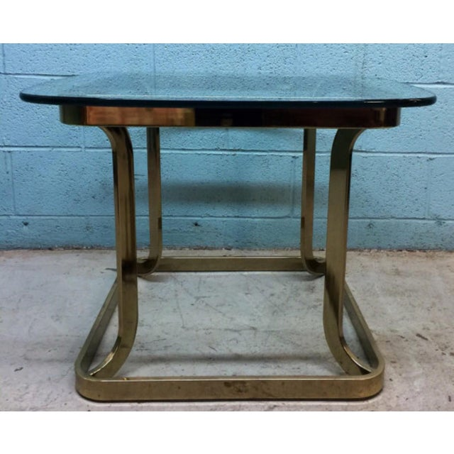 Milo Baughman Style Brass Side Table - Image 2 of 6