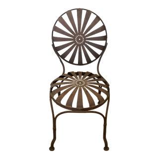 Francois Carre Brown Iron Sunburst Garden Chair For Sale