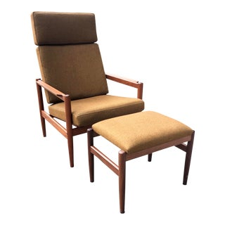 Borge Jensen Danish Teak Lounge Chair and Ottoman For Sale